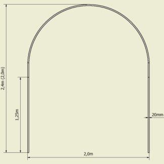 Pałąki, łuki, rura do tunelu foliowego (200×240/200) 5 sztuk